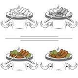 Salsicce cotte sulla griglia Immagini Stock