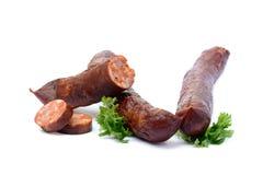Salsiccia affumicata di alta qualità saporita Fotografie Stock Libere da Diritti