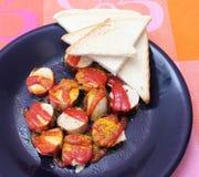 Salsiccia con ketchup Fotografia Stock Libera da Diritti
