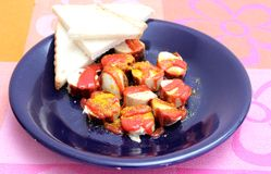 Salsiccia con ketchup Fotografie Stock
