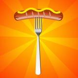 Salsiccia con la forcella Fotografie Stock