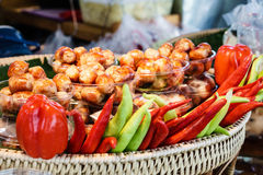 Salsiccia cotta stile tailandese Fotografie Stock