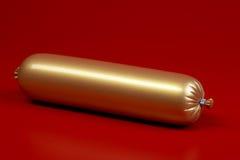 Salsiccia cotta su colore marrone Immagini Stock