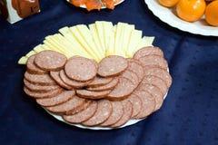 Salsiccia e formaggio Immagini Stock