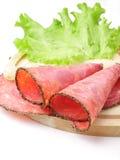 Salsiccia e lattuga Fotografia Stock