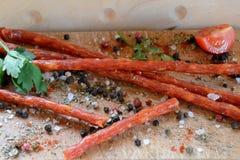 Salsiccia e spezie di Kabanos Fotografia Stock Libera da Diritti