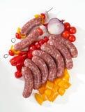 Salsiccia e spiedi Fotografia Stock