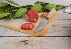 Salsiccia ed alloro del chorizo Fotografia Stock