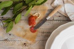 Salsiccia ed alloro del chorizo Fotografia Stock Libera da Diritti