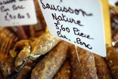 Salsiccia francese nel mercato Immagine Stock Libera da Diritti