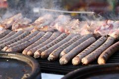 Salsiccia fresca e hot dog grigliati all'aperto su una griglia del gas Salsiccie su un barbecue Alimenti a rapida preparazione fu Immagini Stock Libere da Diritti
