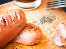 Salsiccia fritta deliziosa Fotografie Stock Libere da Diritti