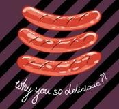 Salsiccia fritta deliziosa tre immagini stock libere da diritti