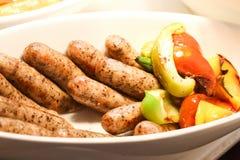 Salsiccia nella linea del buffet Fotografie Stock