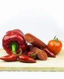 Salsiccia piccante con le verdure Immagini Stock
