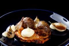 Salsiccia sanguinosa gastronomica pranzante fine/puding e crauti del nero Fotografia Stock