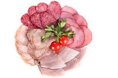 Salsiccia, taglio della carne. Fotografia Stock Libera da Diritti
