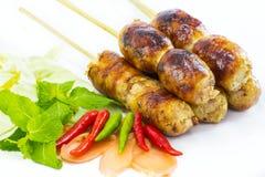 Salsiccia tailandese con la verdura immagini stock libere da diritti