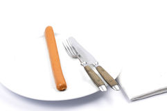 Salsiccia viennese sul piatto Immagini Stock