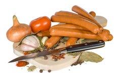 Salsiccie affumicate Fotografie Stock Libere da Diritti