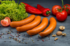 Salsiccie bollite Immagini Stock Libere da Diritti