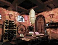 Salsiccie, cantina per vini Fotografia Stock Libera da Diritti