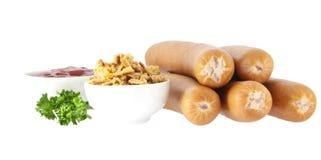 Salsiccie con gli ingredienti del hot dog (percorsi di residuo della potatura meccanica) Fotografia Stock