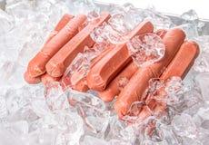 Salsiccie con i cubetti di ghiaccio IV Fotografia Stock