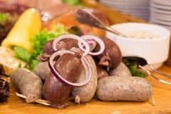 Salsiccie del manzo e della carne di maiale Immagini Stock