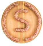 Salsiccie del manzo sul bordo Fotografia Stock