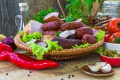 Salsiccie delle carni di varietà della composizione Immagini Stock Libere da Diritti