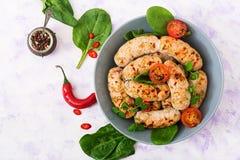 Salsiccie dietetiche dal raccordo e dai funghi del tacchino Fotografia Stock