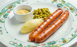 Salsiccie e purè di patate Fotografie Stock Libere da Diritti