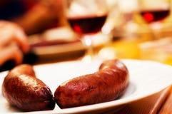 Salsiccie e vino Fotografie Stock Libere da Diritti