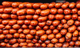 Salsiccie fritte carne Immagine Stock Libera da Diritti