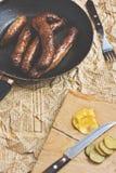 Salsiccie fritte casalinghe Fotografie Stock