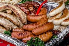 Salsiccie grigliate Fotografie Stock