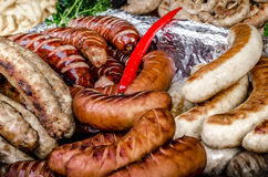 Salsiccie grigliate Fotografia Stock Libera da Diritti