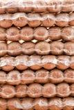 Salsiccie imballate sotto vuoto fotografia stock