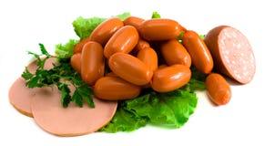 Salsiccie isolate su bianco Fotografia Stock Libera da Diritti