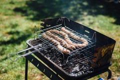 Salsiccie sulla griglia nel giardino, stante un prato inglese verde Immagini Stock