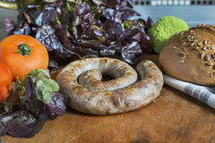 Salsicha com pão e ofoschami fotos de stock