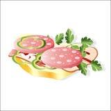 Salsicha com salsa no pão ilustração royalty free