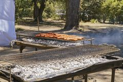 Salsicha da grade de um festival da alfazema da exploração agrícola 123 Foto de Stock Royalty Free