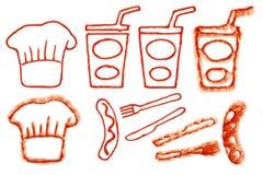 Salsicha do Beber-copo do Cozinheiro chefe-chapéu da ketchup de tomate na mancha fotos de stock royalty free