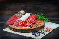 Salsicha e bresaola curado cortado com especiarias e um ramo do explorador de saída de quadriculação foto de stock