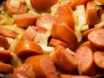 Salsicha e cebolas imagem de stock