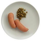 Salsicha e ervilha verde foto de stock
