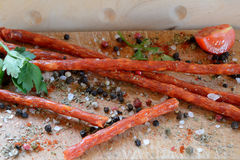 Salsicha e especiarias de Kabanos Foto de Stock Royalty Free
