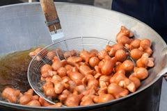 A salsicha foi fritada Fotos de Stock Royalty Free